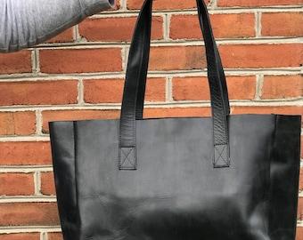 Black Korah Tote, Handmade in Africa, Ethiopia Carry 117, Fairtrade, Women Empowerment, Leather Tote