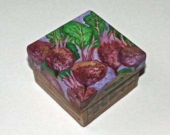 "A small handpainted paper mache box beets vegetables This one is ""Red Beets"""
