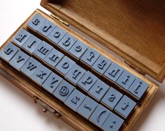 Stamp set abc / 30 parts in wood box/stamp alphabet