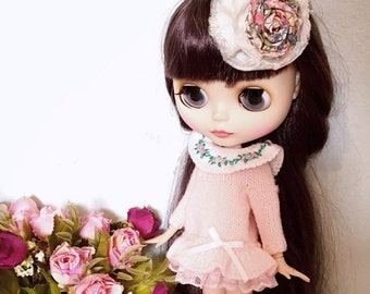 Lovely pink dress. Handmade outfit for Blythe dolls
