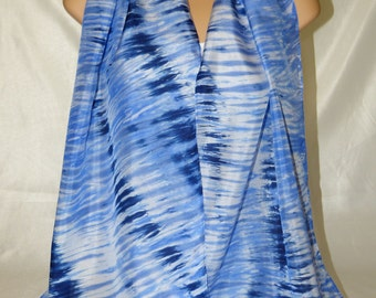 Hand Painted Pure Silk Scarf - Blue.