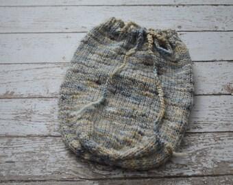 Knitted Newborn Swaddle Sack Soft Yarn Photo Prop Grey Merino Wool