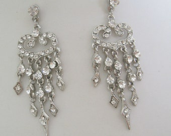 Bridal Jewelry Bridal Accessories Bride - Bridesmaid - Rhinestone Chandelier EarringsVintage style