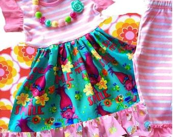 Trolls Poppy dress birthday party girls toddler gift present pink troll dress colorful Rainbows cupcakes Momi boutique custom dress