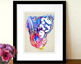 "Watercolor Fetus, 8.5"" x 11"", Fine Art Print, Prenatal Baby print, OBGYN Gift, Nurse Graduation gift, Female Reproductive System"