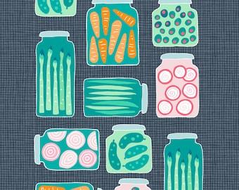 Pre-order Pickled veggies Kitchen Tea towel vegetables carrot pickles onions, linen cotton / theedoek - design by Heleen van den Thillart