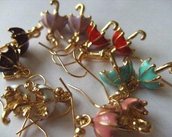Mary Poppins, Umbrella, Earrings, 3d, open umbrella, enamel, choose colour, by NewellsJewels on etsy