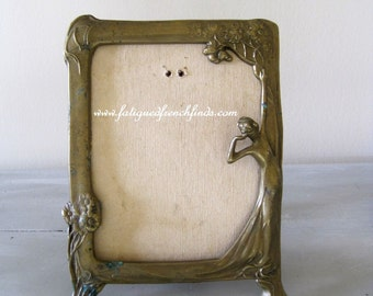 Art Nouveau French Brass Figural Picture Frame Decorative Antique Brass Picture Frame For Display