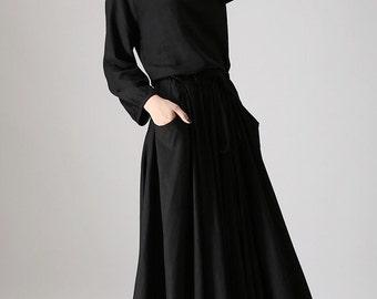 Black Dress, Ladies Maxi Dress, Boho Dress, Womens Casual Dress, Long Sleeve dress, Black Linen Dress, Boho Fashion, Linen dress 835