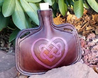 Leather Bottle with Celtic Heart - Irish Medieval Knot Hand Tooled Hand Stitched Small Leather Flask - Renaissance Water Canteen