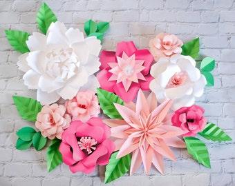 Hot Pink Paper Flower Wedding Backdrop, Paper Flower Backdrop, Wedding Paper Decor, Large Giante Paper Flower Decor, Photo Backdrop