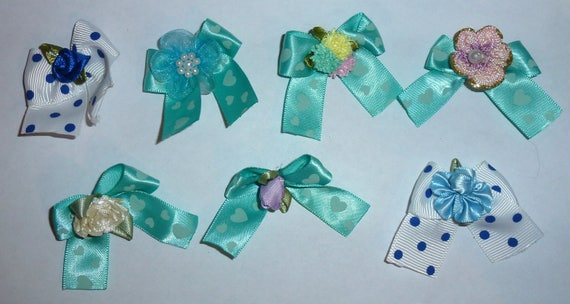 Puppy Bows ~7 teal blue EVERYDAY BOWS Yorkie Maltese Shih Tzu ~Usa seller (fb81)