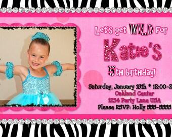 Zebra Hot Pink Photo Birthday Invitation Digital
