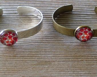 Poppy Bracelet, Poppy Flower Cuff Bracelet, Antiqued Brass Bracelet, Red Floral Bracelet, Brass Cuff Bracelet, Floral Jewelry, Floral Cuff