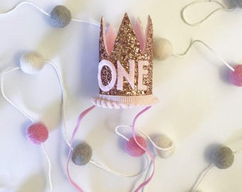 First Birthday Crown | 1st Birthday Girl Outfit | Rose Gold Girl First Birthday Outfit | 1st Birthday Hat | Rose Gold Cown