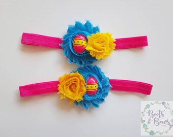 Easter Egg Headband - Easter Headbands - Matching Headbands - Blue and Yellow Headband - Child Headband - Kids Headband - Easter Egg