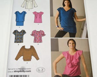 Simplicity Misses' Knit And Woven Top Pattern 2554 Size 6, 8, 10, 12, 14