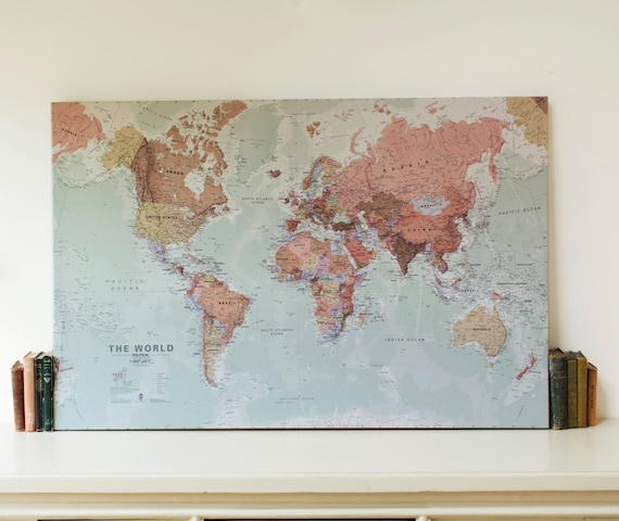 executive world map canvas print wall map gift gift for