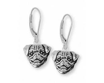 Pug Earrings Jewelry Sterling Silver Handmade Dog Earrings AD11C1-E