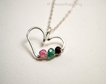 bridesmaid necklace, sterling silver, heart, gemstones SALE