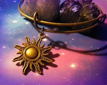 Sun Goddess Charm Bracelet,Fairy Crescent Moon , Cosmos, Bohemian, Hippie, Boho, Earthy,  90s, Lead free, Nickel free, Bronze Plated