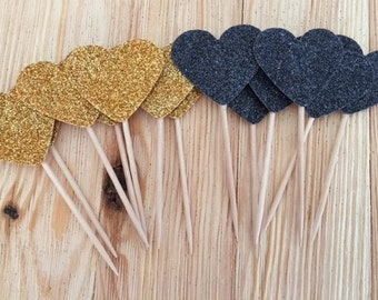 18 Black and Gold Cupcake Toppers, Food Picks, Bachelorette Party Decorations, Cupcakes, Cheetah Theme, Congratulations Celebration