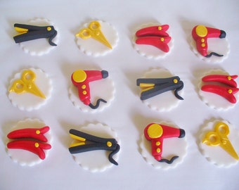 12 HAIR STYLING SALON Edible Fondant Cupcake Toppers