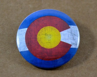 Colorado Flag Pinback Button, Magnet, Badge, Colorado Button, Colorado gift, Denver Pin, Souvenir Gift, Traveler, Rocky Mountain State Flags
