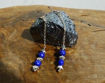 Earring dangle Star-Blue night - Pearl ear hook