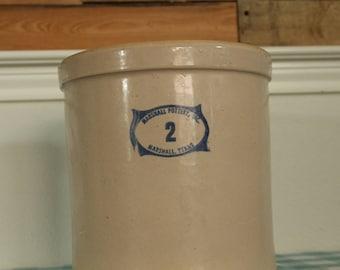 Vintage Marshall Pottery Crock