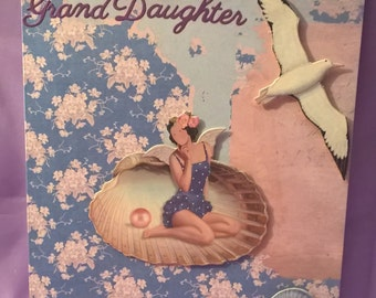 happy birthday granddaughter card  with a beachy seaside theme