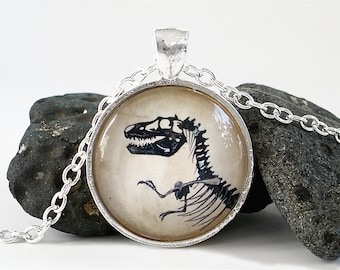 Dinosaur Necklace - Tyrannosaur / T Rex Necklace in Silver