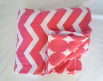 Candy Pink Chevron & Dot Fleece Blanket - Extra Large