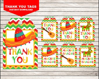 Mexican fiesta Thank you tags instant download, Cinco de mayo Tags, Mexican fiesta Party Muchas Gracias tags