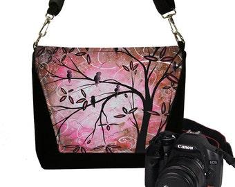 MadArt Digital Slr Camera Bag DslrR Camera Bag Purse Zipper Padded - Deluxe Pink Cherry Blossom Birds RTS