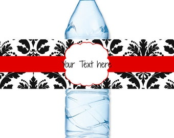 INSTANT DOWNLOAD - Red Black Damask Water Bottle Label