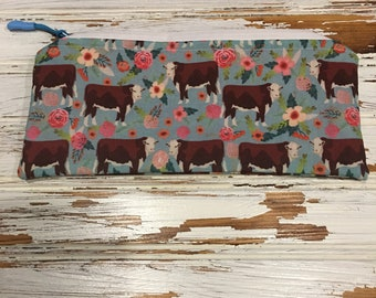 Hereford cattle, cows, flowers, zipper pouch, farm wife, cattle, handmade