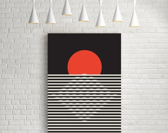Sunset, minimalist art poster, minimalist print, minimalist art, minimalist art print, sun print, sun poster, sun, soleil, affiche, giclee