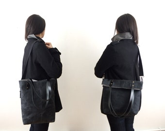 Waterproof Foldover Bag - Convertible Tote - Black Waxed Canvas  - Cotton Adjustable Strap - Leather Handles - Striped Lining