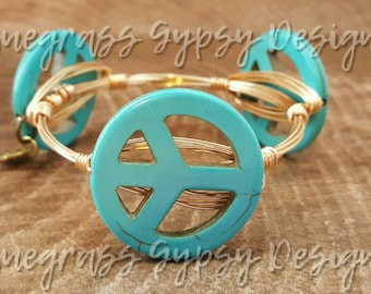 Magnesite howlite turquoise  peace sign gemstone Wire Wrapped Bangle, Bracelet, Bourbon and Boweties Inspired