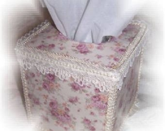 "Country Cottage CHIC Lt Purple Rose Florals TISSUE COVER 5"" Square Gift"