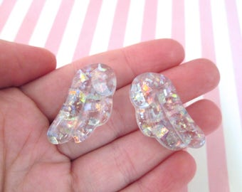1 Pair of Holographic Glitter Resin Chibi Wings, Angel Wing Cabochons #1025