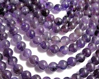 Amethyst - 8 mm round - 1 full strand - 48 beads - RFG568
