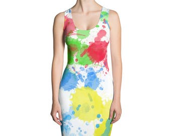Womens Dress,Paint Splatter,Blue,Yellow,Red,Green,White,Summer,Dresses,Spring,Long,Evening,Printed,Unique,Fashion,Girls,Clothing,Design,Cute