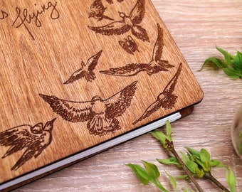 Wooden journal-sketchbook A5-Customized Notebook for women-sketchbook for drawing-Laser Engraved Wood - Lined or Blank Pages-Wood Notebook-