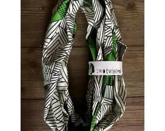 Ankara Print Infinity Scarf- Nyota (Green) - Gifts for Her Under 20