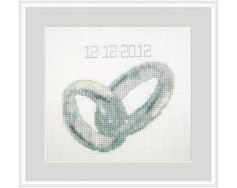 Wedding Rings, Cross Stitch Kit Marriage, diy gift, small, beginner, silver, platinum