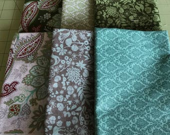 Blitzen Fat Quarter Bundle by Basic Grey for Moda - 6 FQs - OOP and Hard to Find!