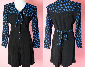 Vintage Rampage Romper // 1990s, Black, Blue, Polkadots, Shorts, Women Size Medium