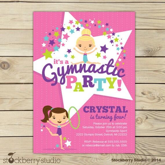 Gymnastics Invitation Printable Gymnastics Birthday Party